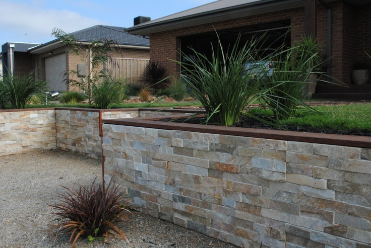 Tawny stacked stone #cladding for garden walls.