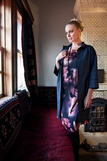 #dress with floral print and #jacket with jacquard weaving