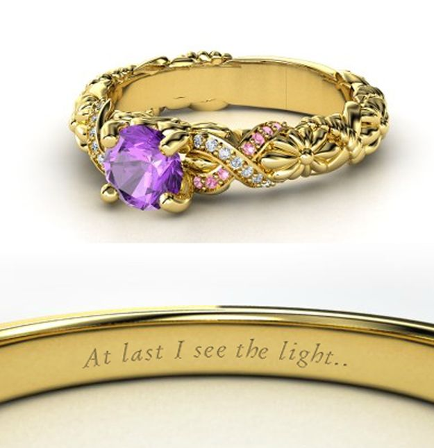 Disney Princess Inspired Rings~Rapunzel~Blooming flowers and braided vines of yellow gold run through with diamonds and pink tourmaline accenting this ring while a large, brilliant amethyst takes center stage.