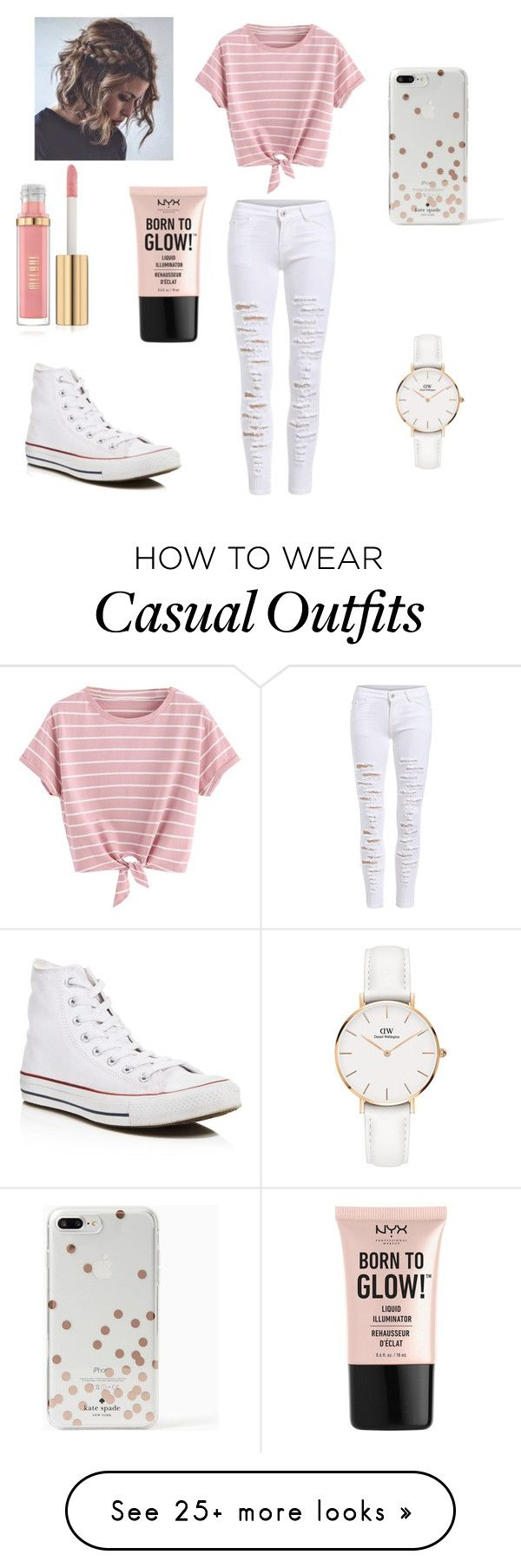 """Cute but Casual"" by ashlynn01 on Polyvore featuring Converse, Kate Spade, NYX and Daniel Wellington"