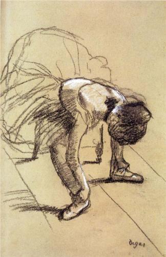 Seated Dancer Adjusting Her Shoes - Edgar Degas