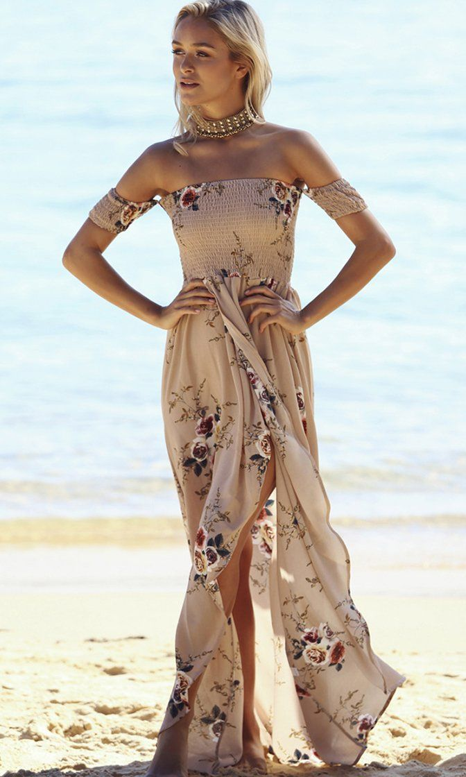 53c30a6dd377 Daydream Diva Khaki Beige Floral Short Sleeve Smocked Off The Shoulder  Cross Wrap High Low Maxi Dress