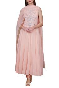 Stitched Net Anarkali Suit In Peach Colour Plus Size Up To 54