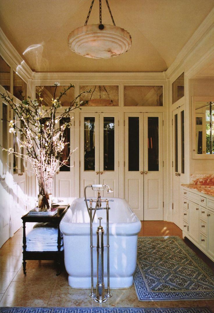 Master bathroom by Michael S. Smith. Elle Decor.