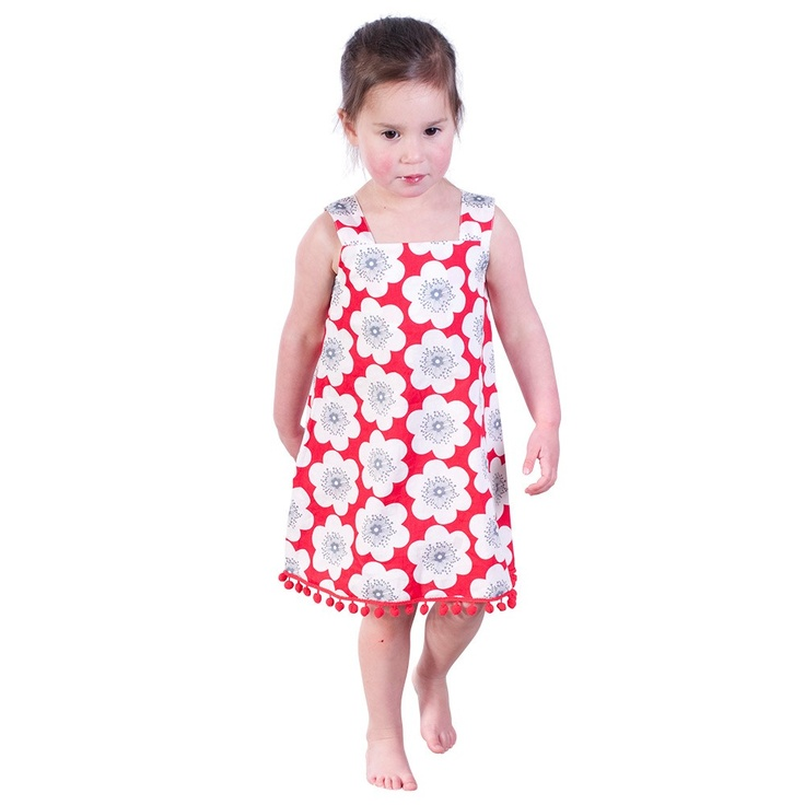 Red Floral Print Pinafore with Red Pom Poms