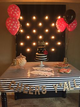 kate spade inspired thirtieth birthday, black and white, pink, gold, marquee lights, sugar cookies