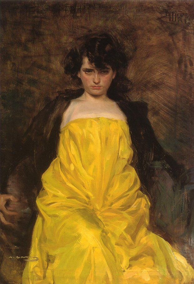 This is how I look every morning. Now if I could just have a dramatic yellow nightgown to punctuate the expression of my angst. La Sargantaine, c.1907 by Ramon Casas