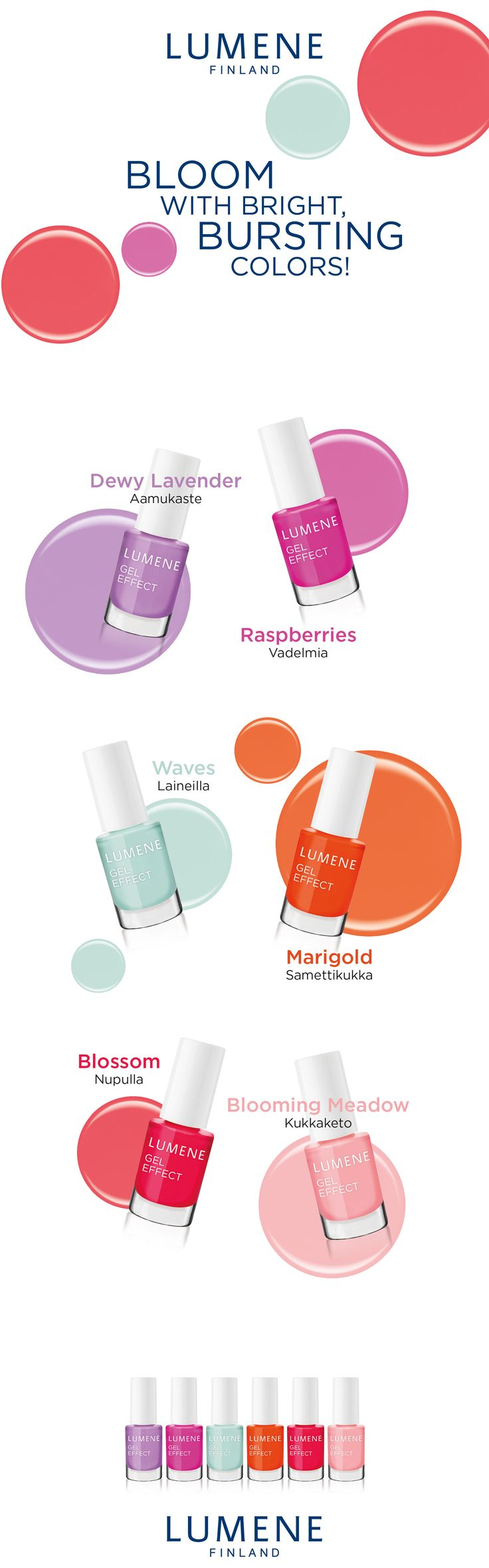 New Lumene Gel Effect Nail Polish shades for the Spring 2016. #lumene #nailpolish #spring