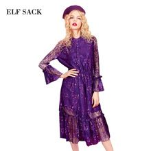 ELF SACK Spring New Look 2017 Lace Pure Color Retro Royal Waist Lotus Edge Speaker Sleeves Sexy Long Women Dress(China (Mainland))