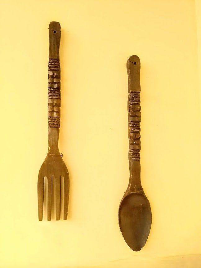 Vintage Extra Large Dark Brown Natural Wood Color Wood Carved Fork