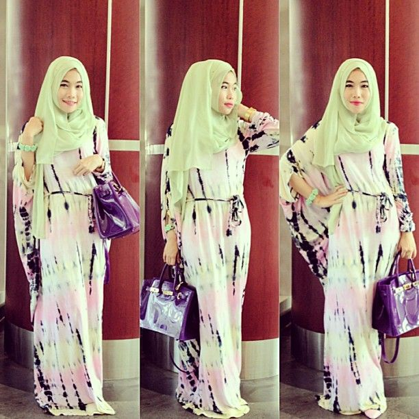 TGIF  tie dye maxi dress from @www.hijabcornerid.com thank you very recommended  #endorse - aliaqueen's photo on Instagram - Pixsta
