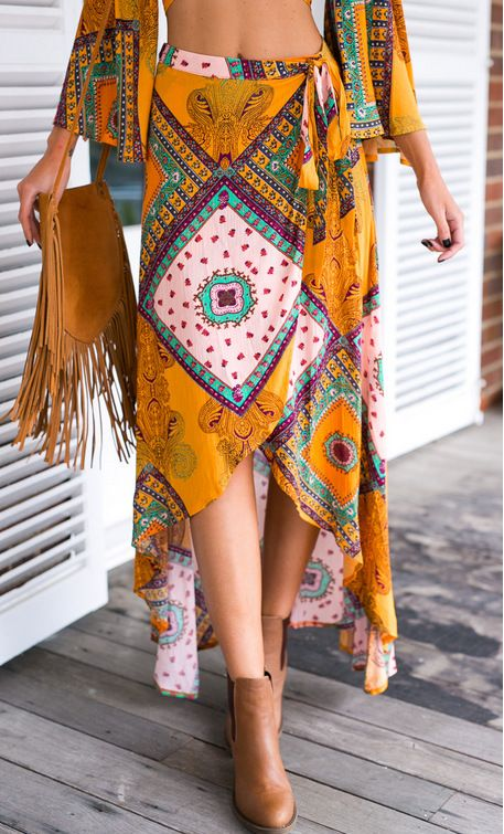 You never go out of style with this Bohemia Wrap Irregular Skirt. It gives you unique cool experience.You can wear it in summer or fall. More surprises at Romoti.com
