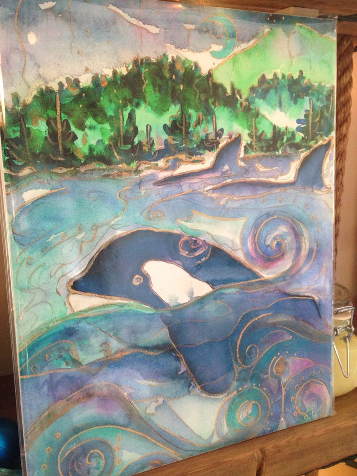Orca print by artist Jill Louise Campbell