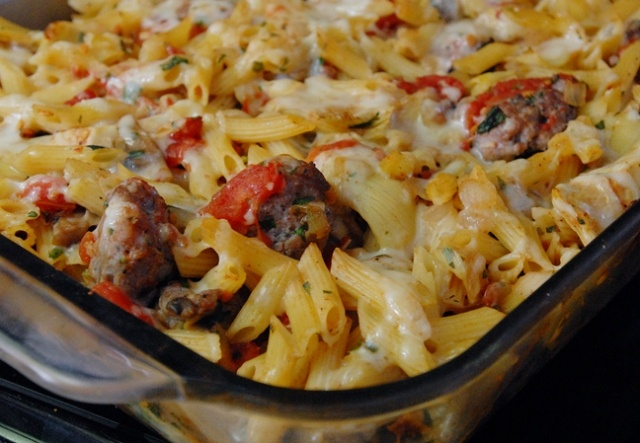 Penne with Sausage, Mushrooms and Artichoke Hearts