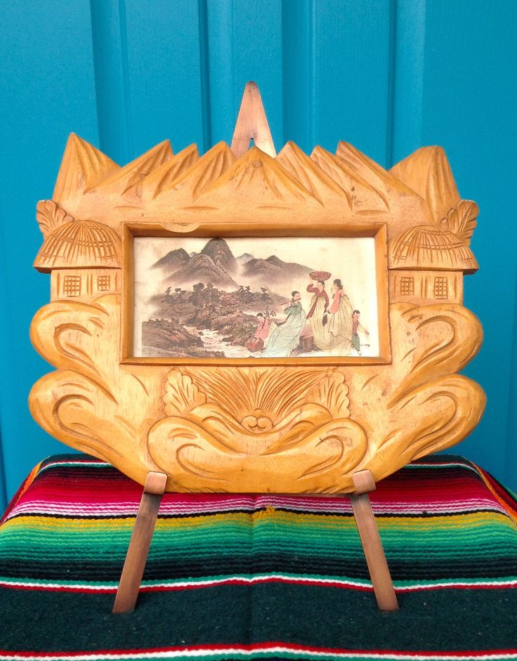 FREE SHIPPING-Vintage Handcarved Wood Asian Frame with Silk Print-Carved Wooden Frame with Huts & Mountains-Chinoiserie-Asian Decor-Bohemian by ellansrelics02 on Etsy https://www.etsy.com/listing/526421038/free-shipping-vintage-handcarved-wood