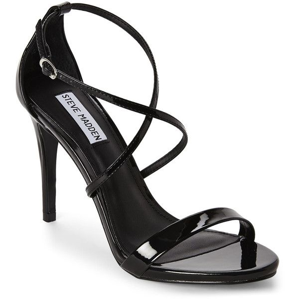 STEVE MADDEN Black Felice Sandal found on Polyvore featuring shoes, sandals, heels, black, black sandals, open toe high heel sandals, black high heel shoes, ankle tie sandals and steve-madden shoes