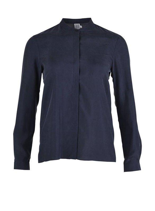 Silke skjorte med knaplukning - blå