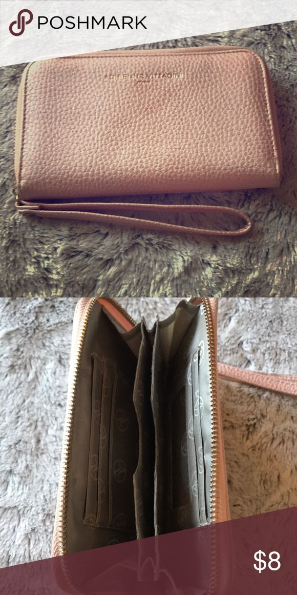 Adrienne Vittadini Wristlet Rosegold This super cute AV wristlet is in perfect condition. Only used a handful of times. Rosegold color and holds an iPhone 7Plus! 5 credit card slots and a middle divider. Adrienne Vittadini Bags Clutches & Wristlets