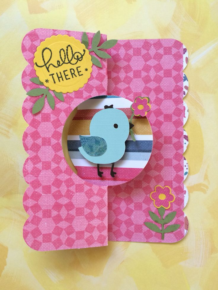 """Thinking of You card made using Cricut Create A Critter 2 cartridge, pg 44. Bird icon and layers were cut at 2"""" and popped up on foam tape. Card base is from Sizzix Card, Circle Flip-Its #2, using dbl sided paper. Created by: Melanie Weise"""