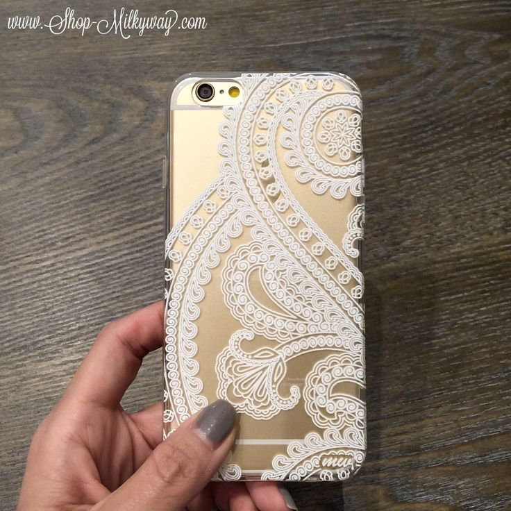 """Clear Plastic Case Cover for iPhone 6 (4.7"""") Henna Full Paisley"""