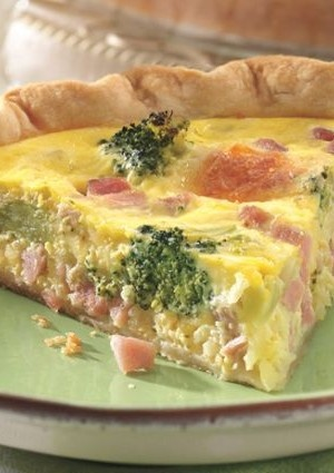 Ham and Broccoli Quiche Recipe. I made this today, and its so easy and sooo good. I substituted egg whites for 2 of the eggs & used fresh organic broccoli - also use lowfat Mexican shredded cheese!