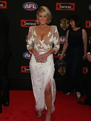 Emma Clapham looking stunning in her dress designed by Edwina Robinson.  (Image Source: News Corp Australia)