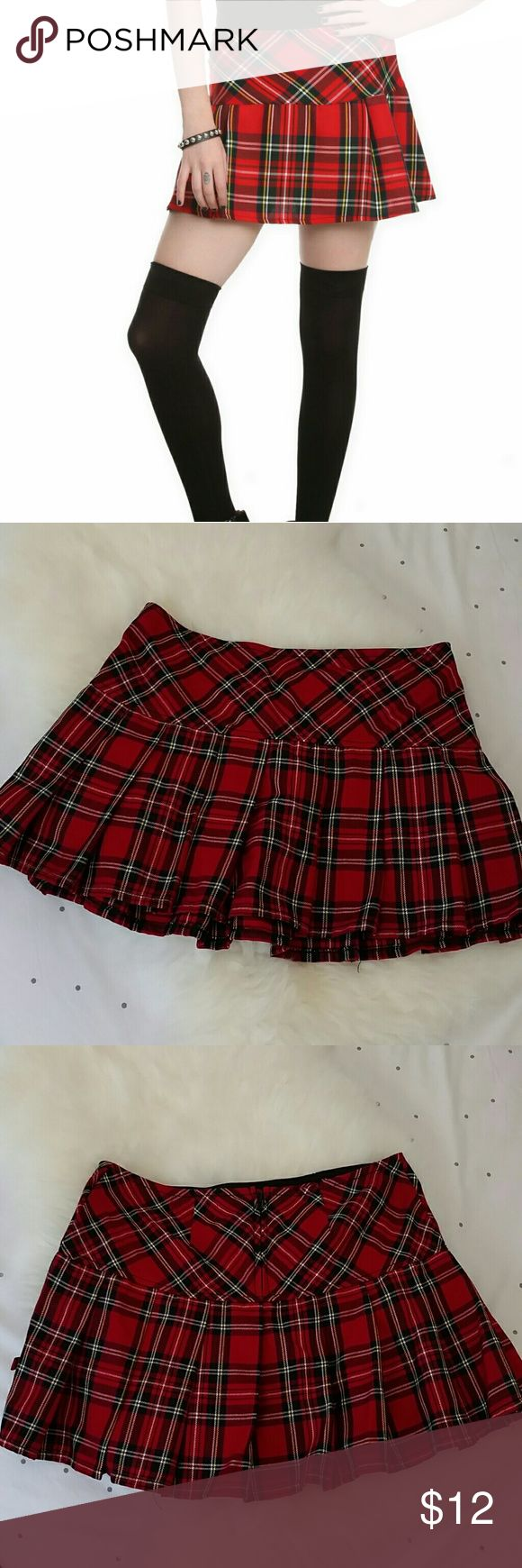 """Royal Bones Hot Topic Plaid Mini Skirt S Bought for a Halloween costume, only worn once. Perfect condition. Worn low on hips. Measures 15"""" across. 13"""" length Hot Topic Skirts Mini"""