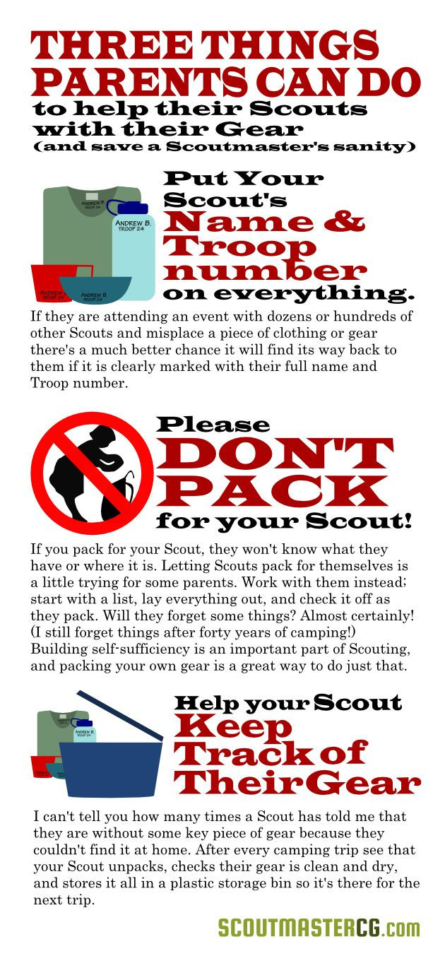 Three things parents can do to help Scouts with their gear.
