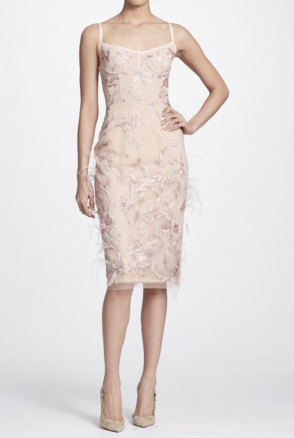 c555bcf7885 Marchesa Notte N25C0610 Blush Pink Feather Embroidered Sleeveless Dress