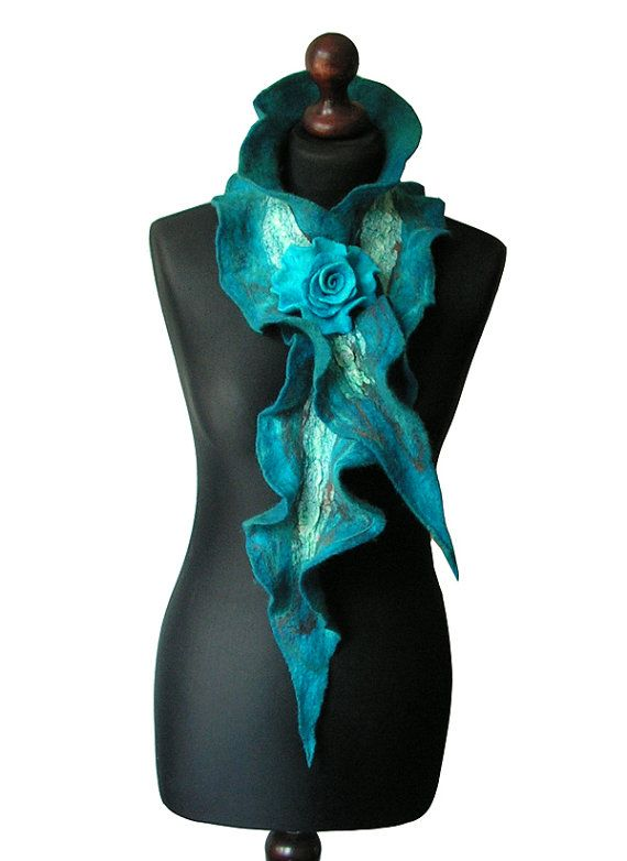Nuno felted collar/ scarf made from finest Australian merino wool and silk fabric. Handmade nuno felt technique. Lightweight and soft to the