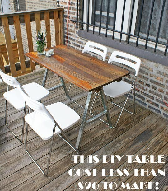 """As I was shooting Michelle and Josh's apartment for a future house tour, I came across this little table on the back porch. When I commented on how much I liked the table, Josh piped up with a proud """"I made that"""". I grilled him on the specifics of his DIY…"""