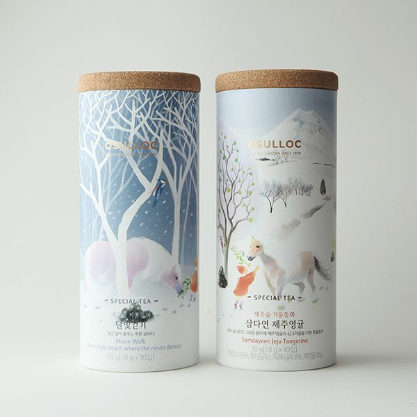 Packaging illustrations for Osulloc, a South Korean tea brand.