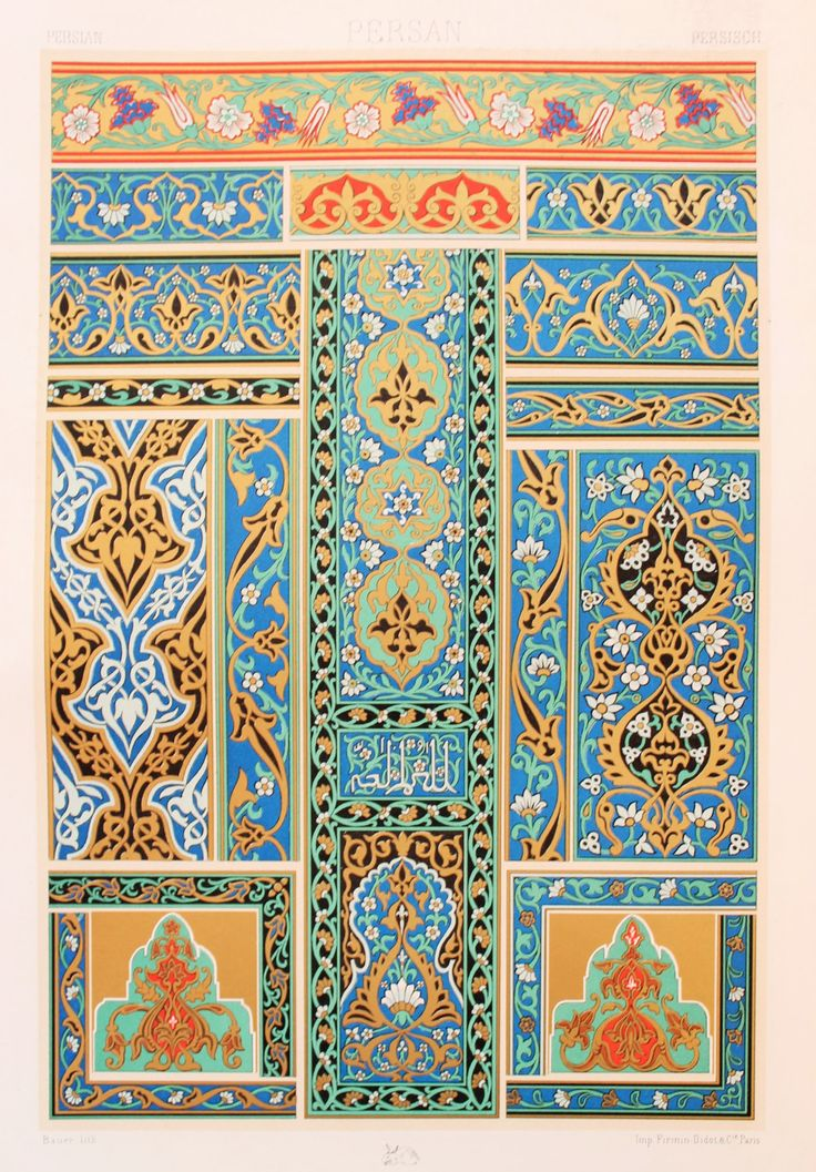 Persian Asian Decorative Ornament (Murals in Blue, Green, Black & Gold etc) - Stunning 1880's Polychrome by Racinet.