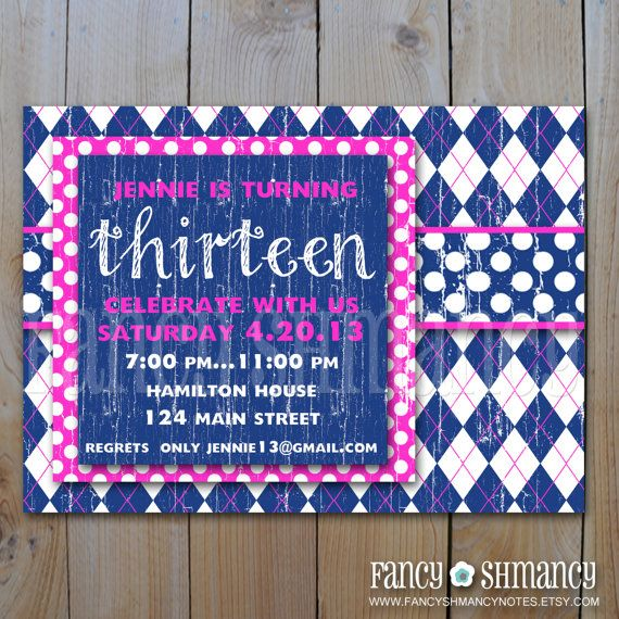 16 best 13Th Birthday Party Invitation images on Pinterest