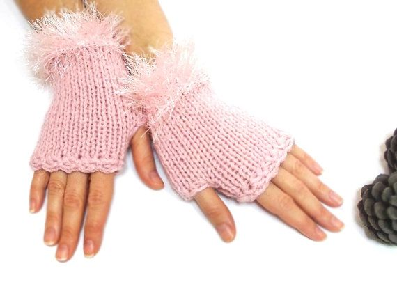 Fingerless Gloves Pink Mittens Hand knit fingerless by aynikki, $25.00