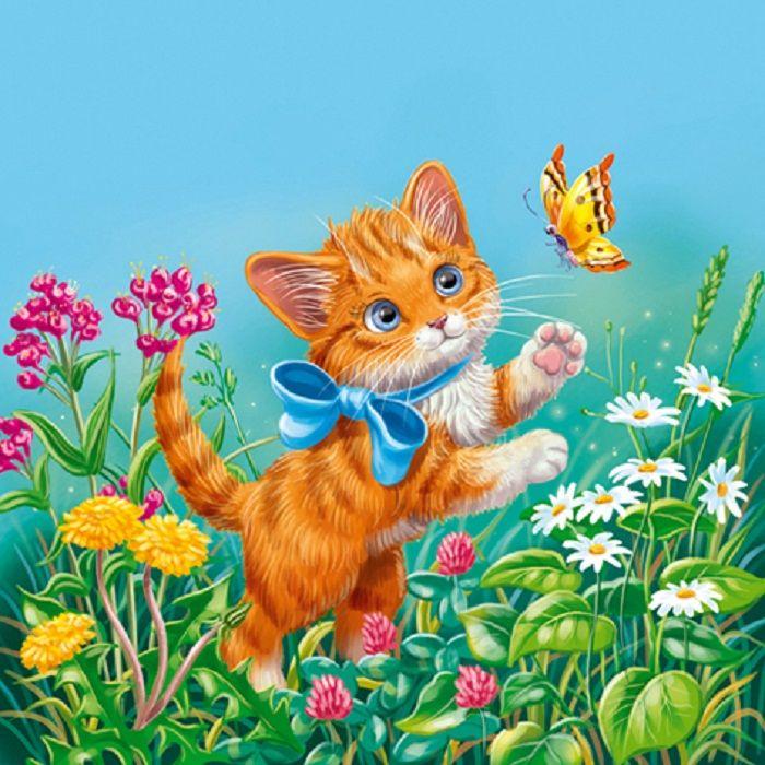 Детские открытки с кошками