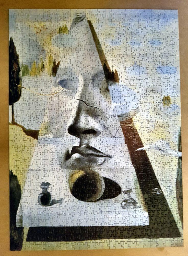 "#RicordiArte puzzle 1000 pieces by #SalvadorDali ~ ""Apparition of the Face of Aphrodite of Knidos in a Landscape"" in 1981."