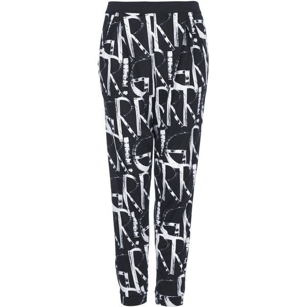 TOPSHOP 'GRRR' Print Jersey Tapered Trousers (91 BRL) ❤ liked on Polyvore featuring pants, monochrome, taper cut pants, topshop trousers, tapered pants, tapered trousers and polyester jersey