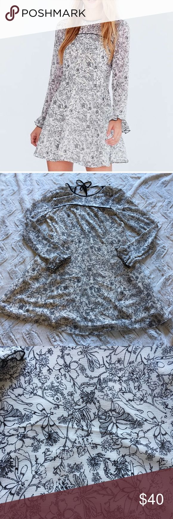 Kimchi Bleu Dragonfly Sheer Yoke Mini Frock Dress Super cute Urban Outfiters Kimchi Blue mini dress! Great condition, a little bit of wear on the back tie ribbon as shown in picture. Feel free to message me with any questions you have. Kimchi Blue Dresses Mini