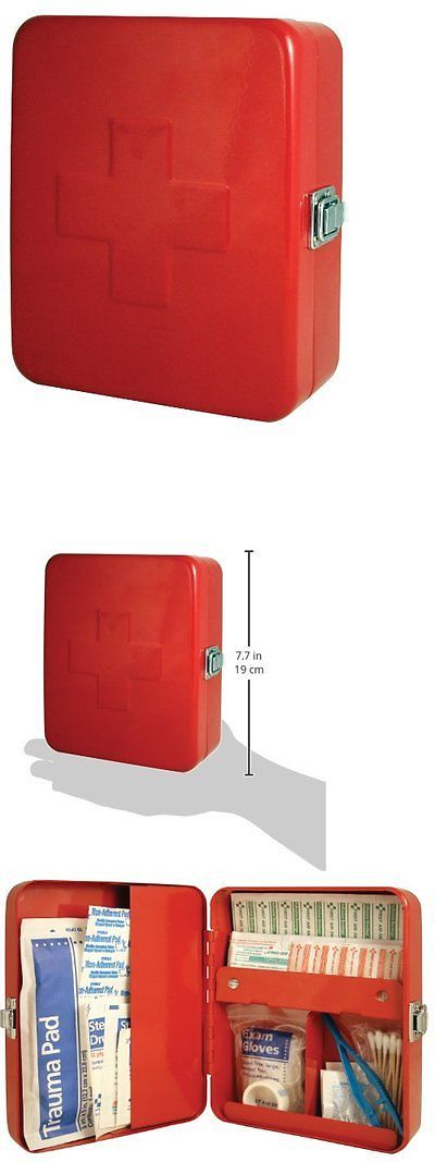 Kits and Bags: First Aid Kit Empty Metal Storage Box Home Health Wall Mount Decor Bandage Red BUY IT NOW ONLY: $30.28