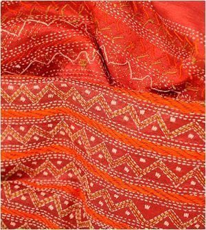 Kantha work on Tussar Silk Stole