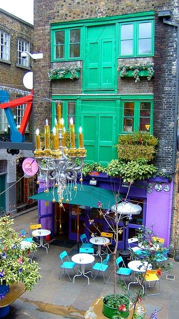 Eclectic Neals Yard-,London  * We ate at this colorful corner café  A quirky fun spot off Covent Gardens, cute cafes & shops!