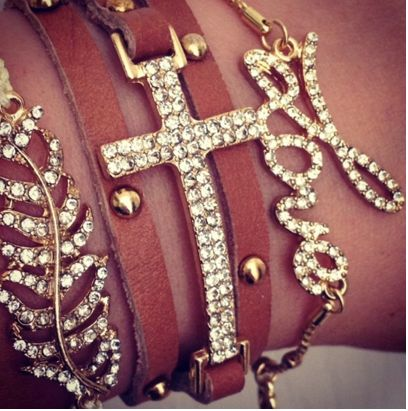 .: Arm Candy, Style, Stacking Bracelets, Wrist Candy, Accessories, Leather Wraps Bracelets, Arm Parties, Leather Bracelets, Crosses Bracelets