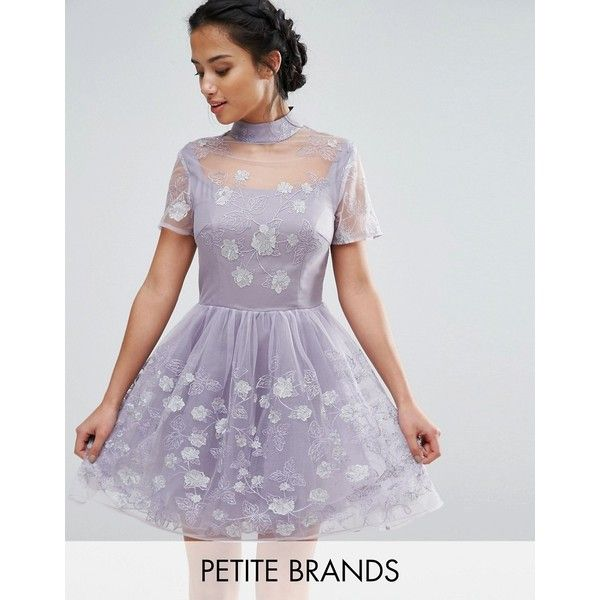 Chi Chi London Petite Mesh High Neck Mini Prom Skater Dress With... ($110) ❤ liked on Polyvore featuring dresses, petite, purple, petite dresses, mini skater dress, metallic mini dress, purple prom dresses and purple floral dress