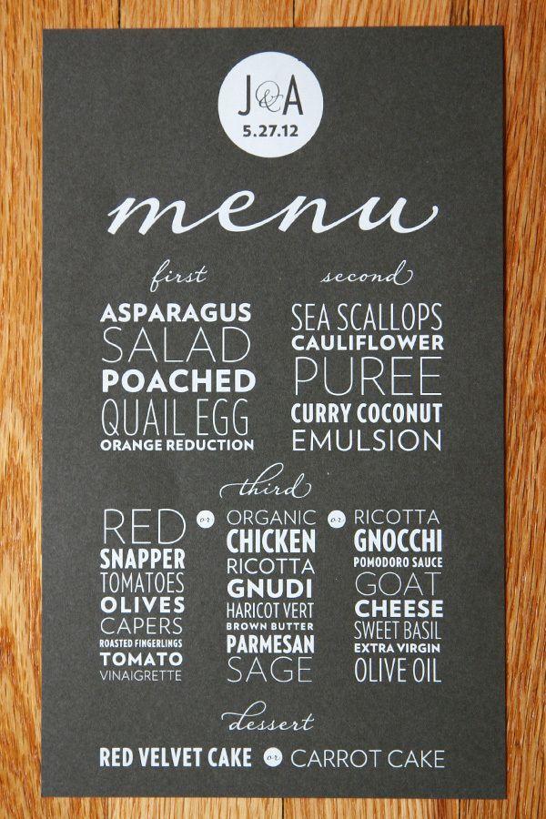 Allineamento blocchetto/giustificato. Menù di un ristorante. Trovo che la disposizione scelta renda il menù molto moderno e particolare, ma non credo sia funzionale. La lettura non è veloce ed immediata.