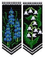 Grape Hyacinth & Lily of the Valley Pattern. While these petite beauties may hug the ground their heavenly perfume scents the air far & wide. Large color/code charts and 8 Delica color numbers given, no stitch instructions. These flower panels are the same size & use the same background & leaf colors as my Iris & Roses Ornament pattern #4865, Tulips & Daffodils #6063, and Tiger Lilies & Daisies #6134 & can be used interchangeably with those panels.