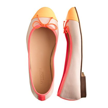 Girls' leather cap toe ballet flats $138.00