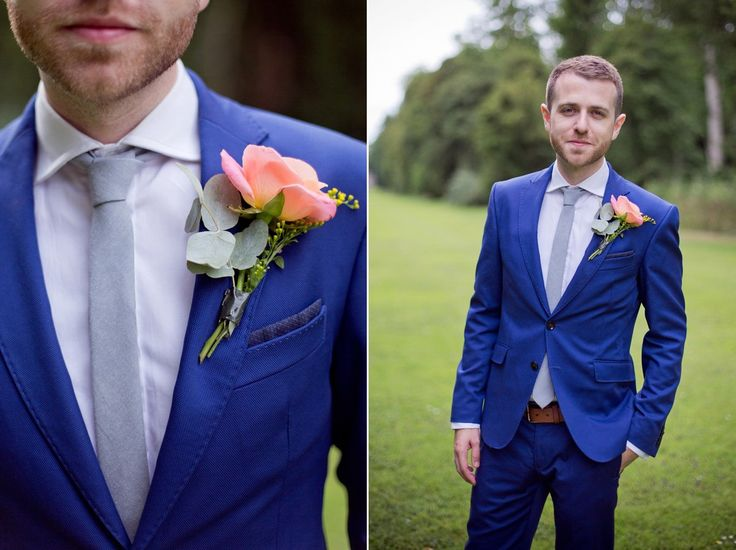 Groom wears a bright blue suit with pale blue tie. Photography by Emma Sekhon