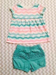Jumping Beans Girls Outfit, Shirt/Shorts W/ Ruffles, Peach/Teal, 24m  | eBay
