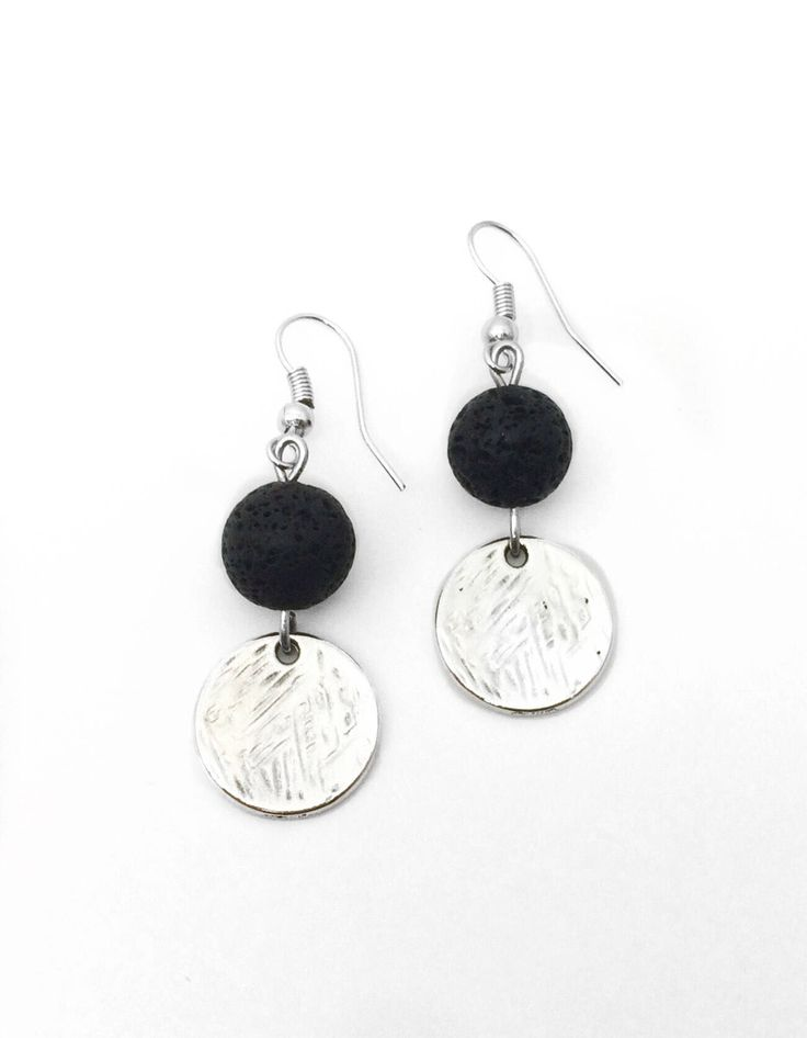 Excited to share the latest addition to my #etsy shop: Silver Textured Diffuser Earrings, Silver Textured Essential Oil Earrings, Lava Stone Aromatherapy Earrings, Gift for Her